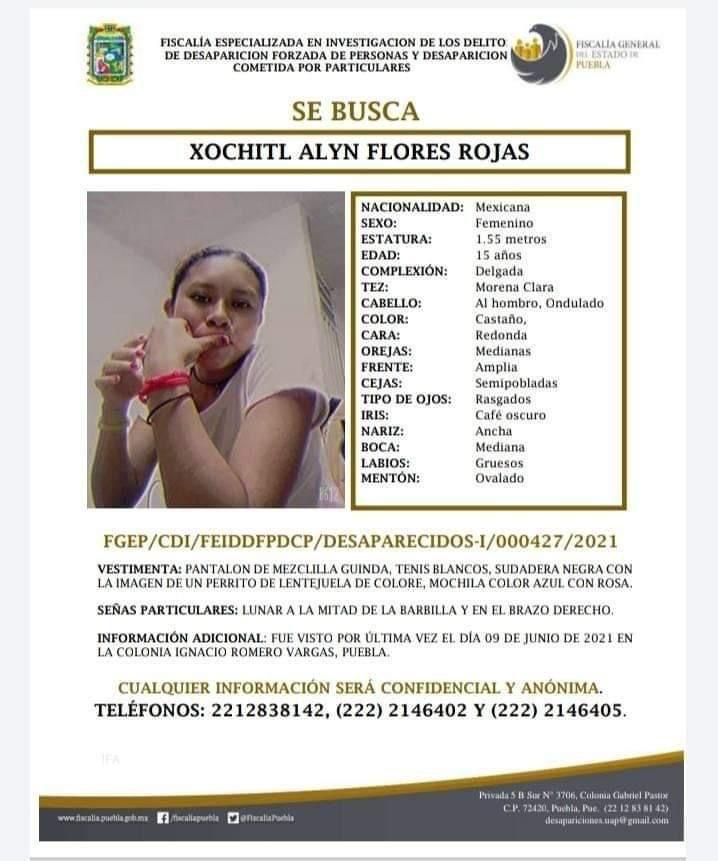 Xóchitl Alyn de 15 años desaparecio en la Romero Vargas