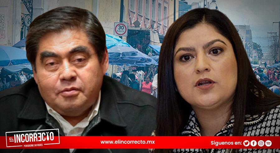 """Gobernador de Puebla critica declaraciones de Claudia Rivera sobre ambulantes: """"deberían estar en los bronces de la historia"""""""
