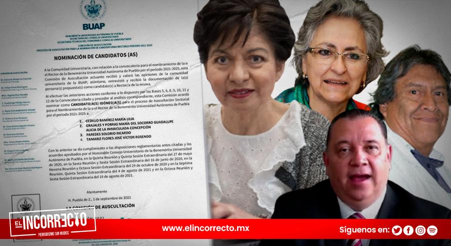 Cuatro candidatos pelearán por la rectoría de la BUAP, dejan fuera a Vélez Pliego y Lilia Vázquez